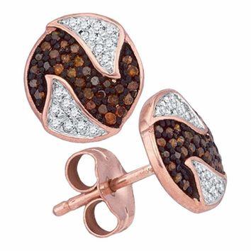 10k Rose Gold Women's Red Diamond Circle Cluster Earrings - FREE Shipping (US/CA)