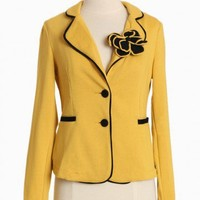 kenzie flower brooch blazer at ShopRuche.com, Vintage Inspired Clothing, Affordable Clothes, Eco friendly Fashion