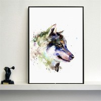Minimalist Home Decor Wolf Painting Black and White Wolf Colorful Wall Art Watercolor Printed Paintings Decoration With No Frame