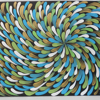 Aboriginal Inspired Painting Turquoise and Gold