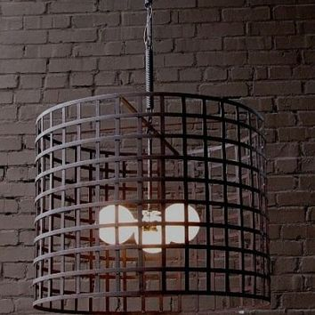 Cage Iron Light Fixture Solaria USA Round Drum Shape Wire Chandelier Metal Lighting Industrial Chic Loft Entry Way Large Modern Oversized