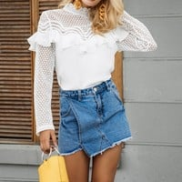 Ruffle Lace White Blouse