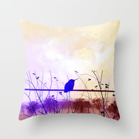 Bird vintage Throw Pillow by Tony Vazquez