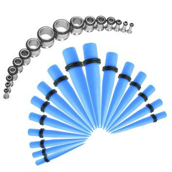 BodyJ4You Gauges Kit Blue Acrylic Taper Stainless Steel Tunnels 12G-00G Stretching Set 32PCS
