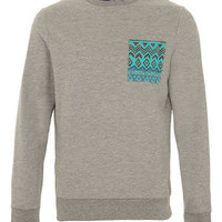 Grey Marl Patterened Pocket Sweatshirt - Mens Sweatshirts   - Clothing