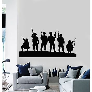 Vinyl Wall Decal Children Soldiers Military Weapons War Stickers Mural (g1051)