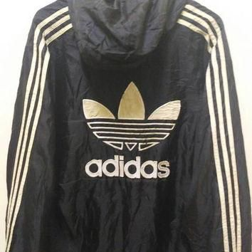 adidas 3 stripes Hoodie windbreaker big logo spellout sports wear Black style vintage
