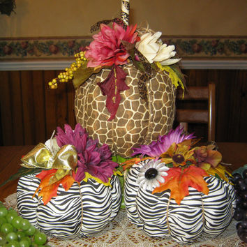 Reduced Price -Set of Animal Print Pumpkins Zebra Giraffe