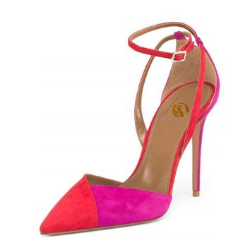 Dora colorful ankle strap pointed hees