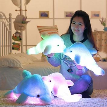 32cm Cute Design Dolphin LED Pillow Growing in Dark Light Soft Cushion Creative Toy Luminous Pillow Stuffed Plush Kids' Gift #A