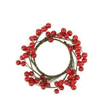 "7"" Decorative Artificial Shiny Red Berries Christmas Candle Holder Ring"