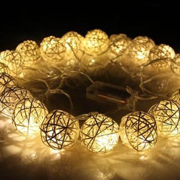 Warm White Rattan Ball String Fairy Lights For Wedding Decoration Party Hot Dry Battery