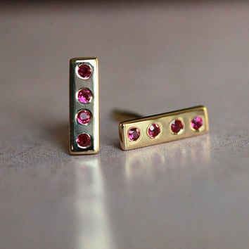 Pave Studs, Ruby Earring, Diamond Bar Earring, Gold Line Earring, 14k Solid Gold