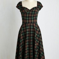 Pinup Long Short Sleeves A-line Pine All Mine Dress in Earthy Plaid