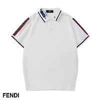 Fendi Fashion New Summer Lapel Women Men Leisure Top T-Shirt White