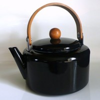 Etsy Transaction - Vintage Danish Style Enamel Glazed Black Teapot Kettle with Wood Handle ($50-100)