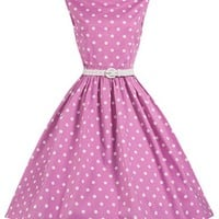 Lindy Bop 'Sandy' Pink Polka Dot Vintage 1950's Swing Dress (S, Pink Polka)