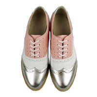 Silver White Pink Classic Oxford Shoes For Women