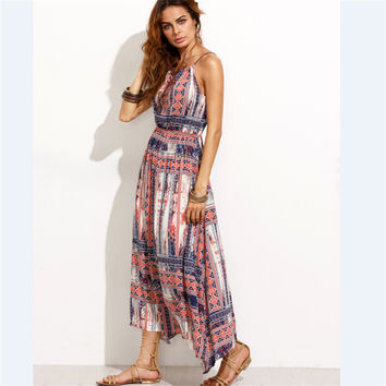 2017 Vintage Womens Evening Party Dress Boho Summer Beach Long Maxi Dresses Retro Style Pleated Psychedelic Floral Printed Dress