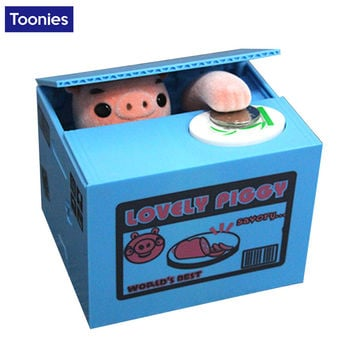 New Cartoon Pig Stealing Money Coins Storage Tank Creative Piggy Bank 12*10*9cm Money Box Funny Toy Gift for Children Friends