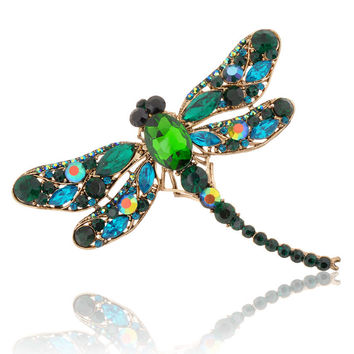 Hot 2015 New Fashion Jewelry Broochs 8 Colors Vintage Lovely Dragonfly Crystal Rhinestone Scarf Pins Brooches For Women