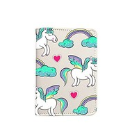Cute Unicorn Pattern Leather Passport Cover - Vintage Passport Wallet - Travel Accessory Gift - Travel Wallet for Women and Men _Mishkaa
