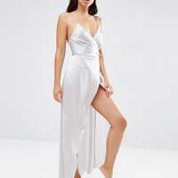 ASOS | ASOS Ruched Side Satin Maxi Slip at ASOS