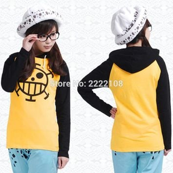 2017 Anime One Piece Trafalgar Law Cosplay Costume Thin/Thick Jacket Unisex Yellow Casual Hoodie Coat Sweatshirts,Free shipping