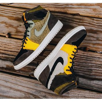 NIKE Air Jordan 1 Retro Yin-Yang Coloured AJ1 Plus Cashmere Yellow-brown Women's Shoes