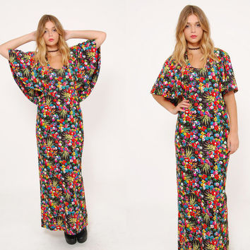 Vintage 70s FLORAL Maxi Dress Boho CAPELET Maxi Dress FESTIVAL Dress Black Floral Hippie Dress