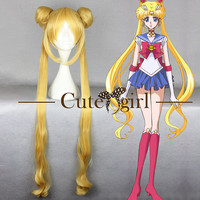 Long Gold Fashion Sailor Moon Anime Cosplay Wig Women Hair Wig