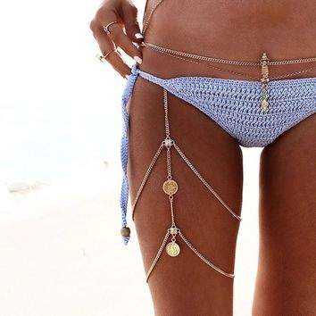 Sexy Shiny New Arrival Gift Ladies Jewelry Stylish Cute Vintage Water Droplets Pendant Beach Bohemia Geometric Body Chain Anklet [521517105206]