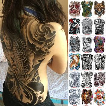 48*35 cm large tattoo stickers 2017 new designs fish wolf buddha waterproof temporary flash tattoos full back chest body for men