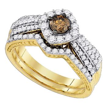 14kt Yellow Gold Women's Cognac-brown Diamond Bridal Wedding Engagement Ring Band Set 1-1/6 Cttw - FREE Shipping (US/CAN)