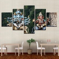 Canvas Living Room 5 Pieces Ganesha  Painting Wall Art Frame