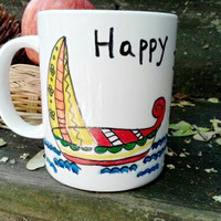 Handpainted Happy Journey Ceramic Mug, Sailing Ships in Madhubani Style