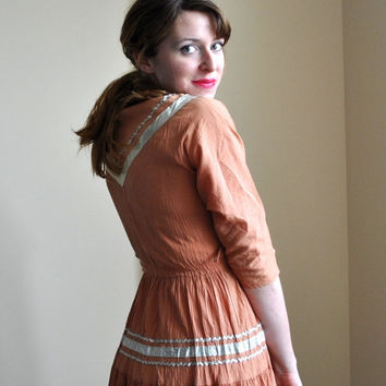 40% OFF SALE Vintage 50s Patio Dress - Square Dancing Dress - Orange with Silver Rick Rack and Trim