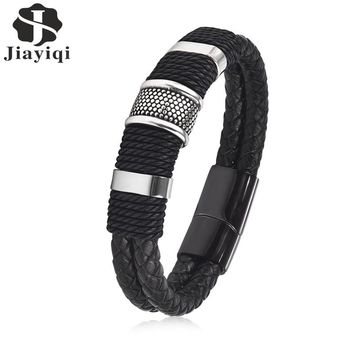 Jiayiqi Fashion Black Braid Woven Leather Bracelet Titanium Stainless Steel Bracelet Men Bangle Men Jewelry Vintage Gift