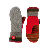 Gray and Red Wool Mittens, Sweater Mittens, Recycled Sweater Mittens, Brown Tan Green Handmade Wisconsin Sweaty Mitts Women Upcycled