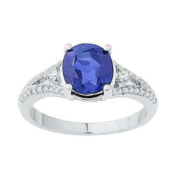 10kt White Gold Women's Oval Lab-Created Blue Sapphire Solitaire Diamond Ring 2-1/2 Cttw - FREE Shipping (US/CAN)