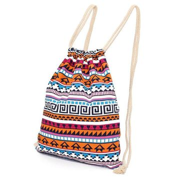 Handmade Women Vintage Backpack Woven Cotton Drawstring Backpack Gypsy Bohemian Boho Chic Hippie Folk Tribal Female Rucksack D35