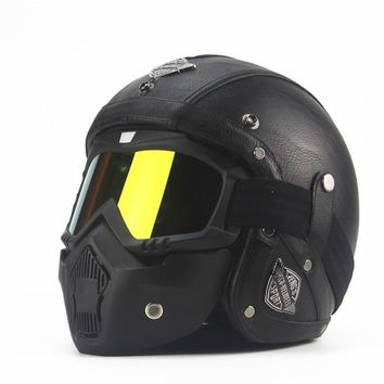 Adult Leather Harley Helmets 3/4 Motorcycle Helmet High quality Chopper Bike helmet open face vintage motorcycle helmet motocros