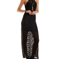 Black Geometric Lace Halter Maxi Dress by Charlotte Russe