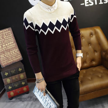Mens Fashionable Long Sleeve Sweater