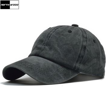 Trendy Winter Jacket [NORTHWOOD] Solid Washed Cotton Baseball Cap Men Unisex Leisure Snapback Caps Women Dad Hat Hip Hop Casquette Fitted Hats AT_92_12