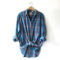 Vintage Plaid Flannel / Grunge Shirt / Boyfriend button up shirt / washed out flannel