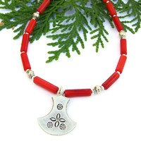 Thai Fine Silver Red Coral Handmade Necklace Ulu Flower Beaded Jewelry