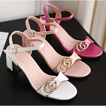 GUCCI Summer Popular Women Casual Double G Metal Logo Sandals High Heels Shoes(3-Color) I13477-1