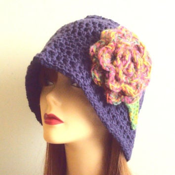 1920's Style Knit Hat Flower Hat Crochet Beanie Festival Hat Chunky Hat Crochet Flapper Hat Fashion Hats Gift Ideas