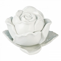 Lady Camellia Covered Jar - rose with no thorn white ceramic jar